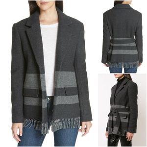 DEREK LAM 10 CROSBY gray wool fringe jacket 8 NWT